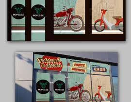 #41 untuk Moped.Ge Moped and Motorcycle shop front sticker design oleh ericzgalang
