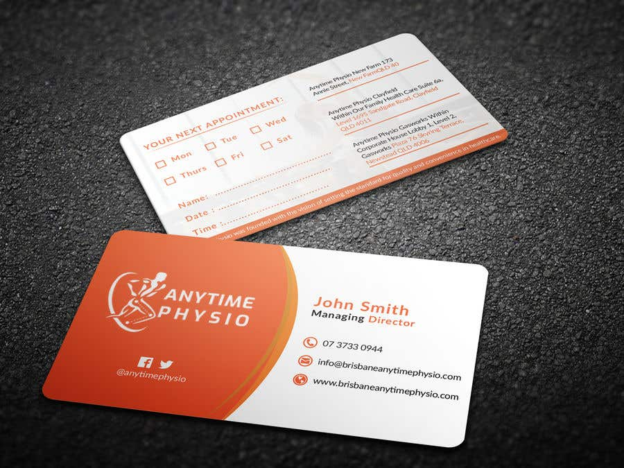 Konkurrenceindlæg #92 for Business Cards and A-Frame Sign for Anytime Physio