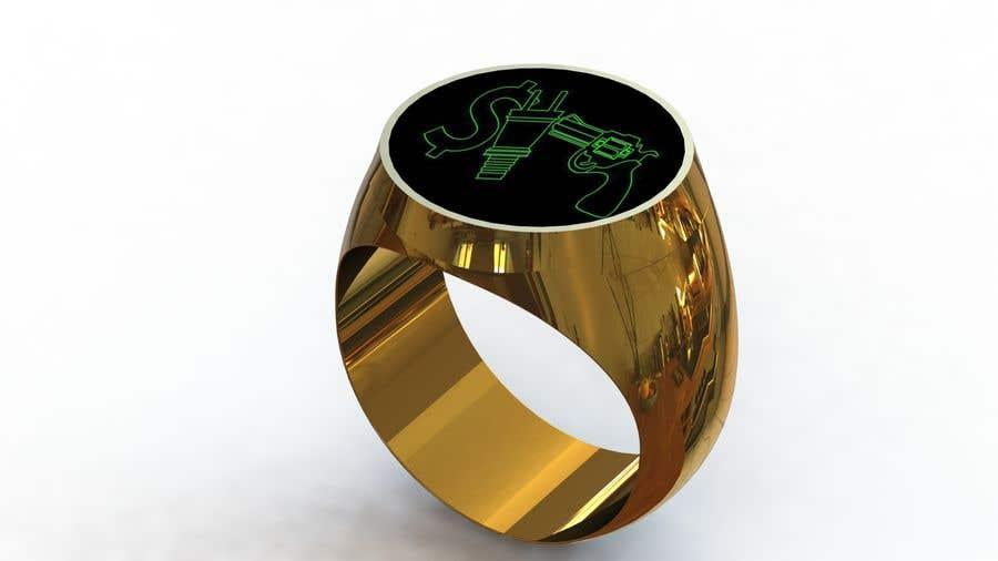 "Kilpailutyö #40 kilpailussa Design a mens ring with my logo ""MONEY, PLUG, GUN"""