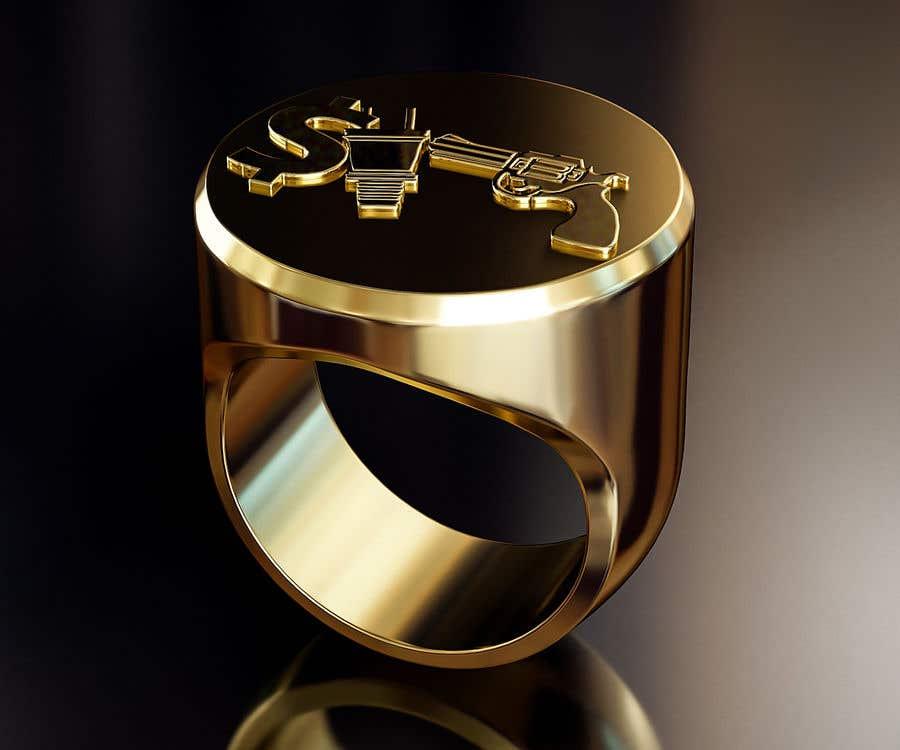 "Kilpailutyö #4 kilpailussa Design a mens ring with my logo ""MONEY, PLUG, GUN"""