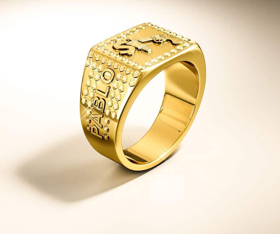 "Kilpailutyö #21 kilpailussa Design a mens ring with my logo ""MONEY, PLUG, GUN"""