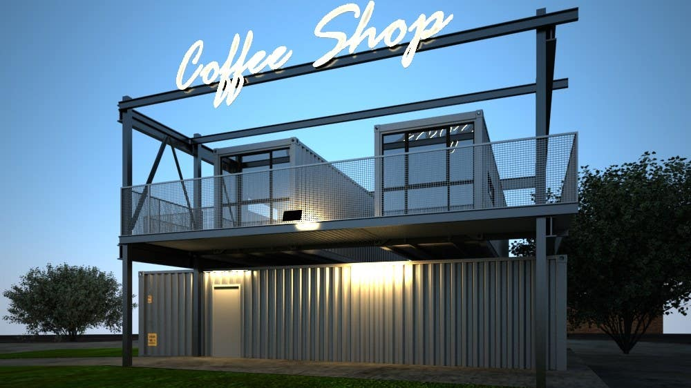 Exterior design for a drive thru coffee shop building for Shops exterior design