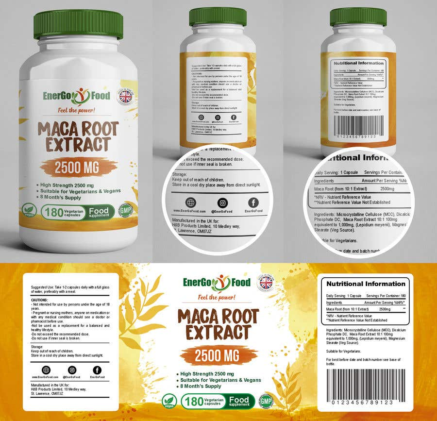 Label Packaging Design for Bottle capsules food supplement