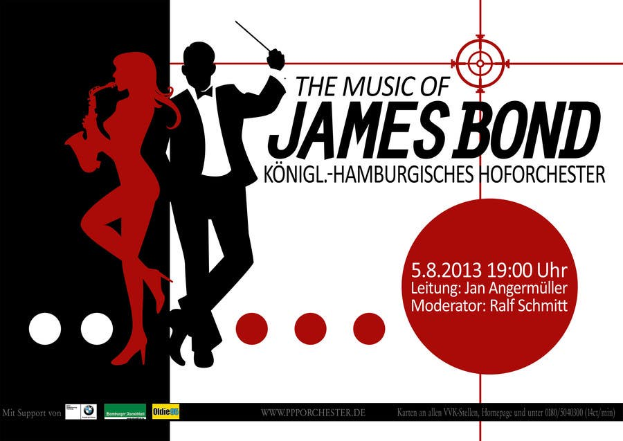 Konkurrenceindlæg #                                        174                                      for                                         James Bond Poster Design for Orchestra Concert