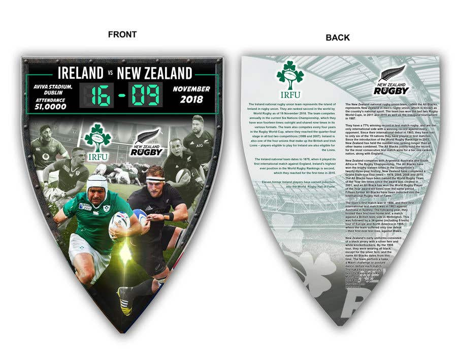 Entry #64 by ericzgalang for IRE vs NZ rugby competition