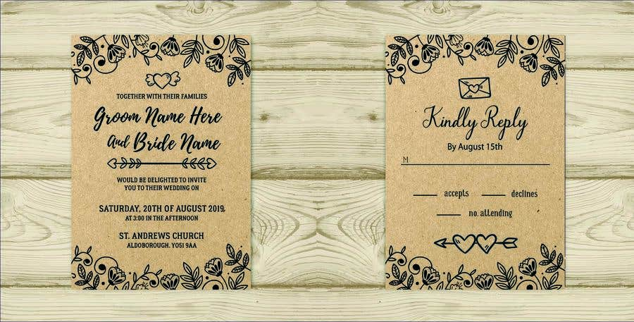Kilpailutyö #21 kilpailussa Design a rustic wedding invite template