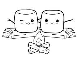 #66 for Drawing two marshmallows (as friends) around a campfire by reemalnounou
