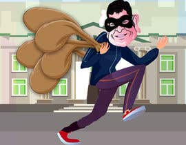 #17 для cartoon  image of thief wearing eyemask with many bags on his shoulder от SrDesign247