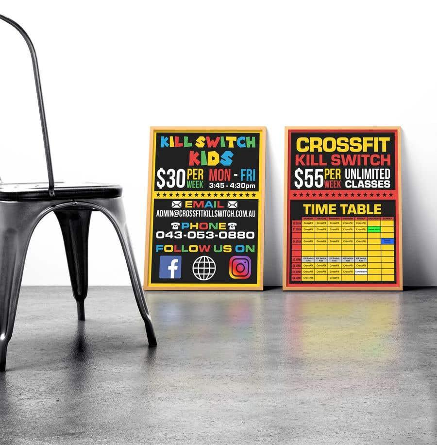 Kilpailutyö #1 kilpailussa build me a advertising sticker for a gym window