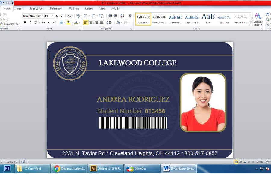 Entry #69 by Ahmedtutul for Design a Student ID Card