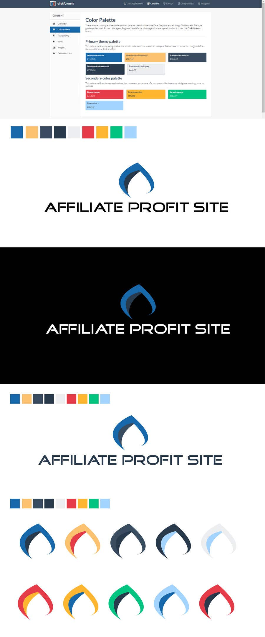 """Intrarea #431 pentru concursul """"I'm putting together a site called: affiliateprofitsite. I would like a logo similar to the examples attached. I want it easy to read, clean, modern and the color scheme should consist of blue, orange, black and white or the Clickfunnels colors lol."""""""