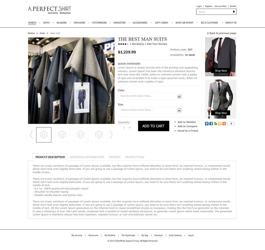 Конкурсная заявка №29 для Website Design for Magento Ecommerce Site - Mens custom clothing