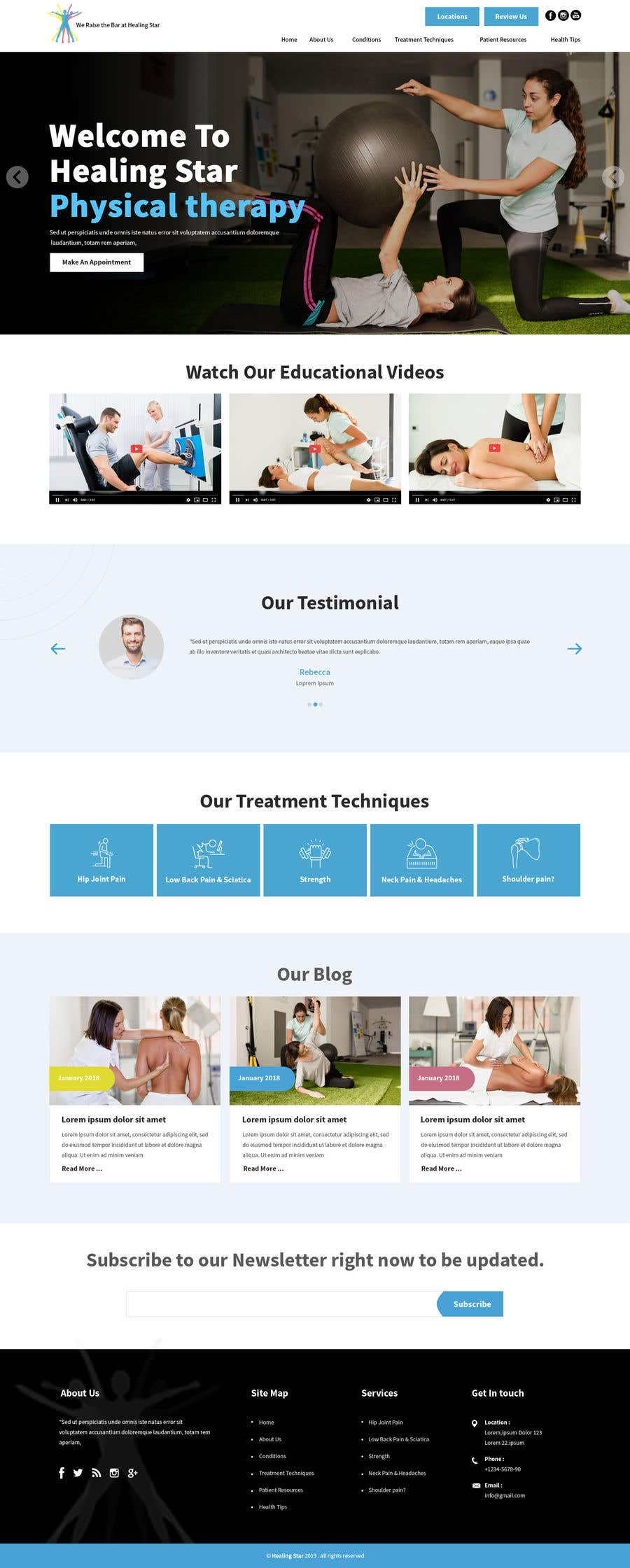 Penyertaan Peraduan #15 untuk Need PSD for physical therapy website home page