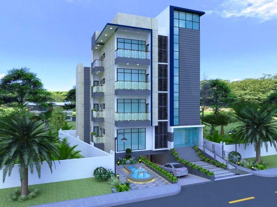 Bài tham dự cuộc thi #102 cho Improve 3D Building Exterior - Paint, Windows, Balcony, Entrance, Garden