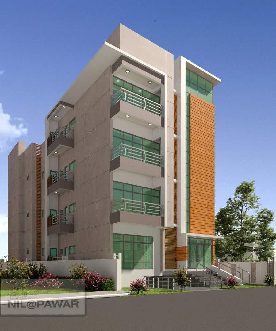 Kilpailutyö #82 kilpailussa Improve 3D Building Exterior - Paint, Windows, Balcony, Entrance, Garden