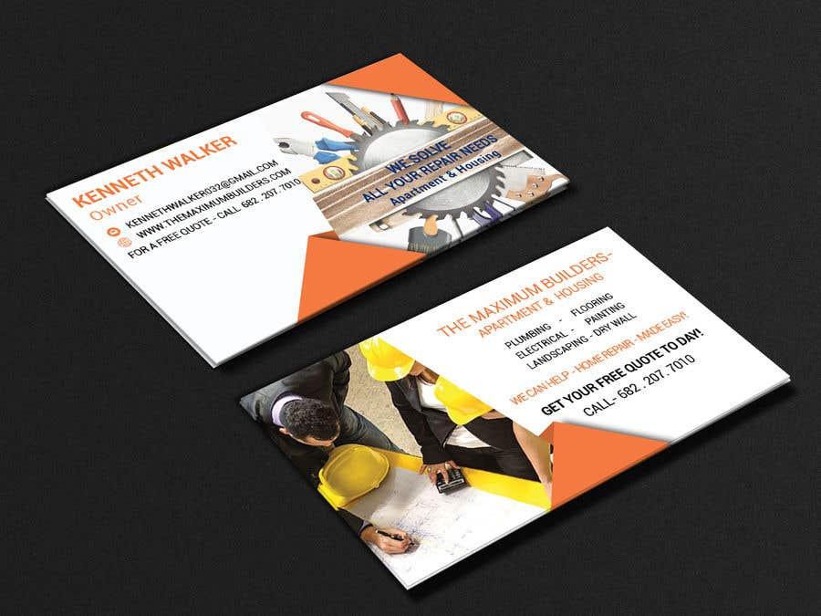 Kilpailutyö #67 kilpailussa design double sided business cards - construction