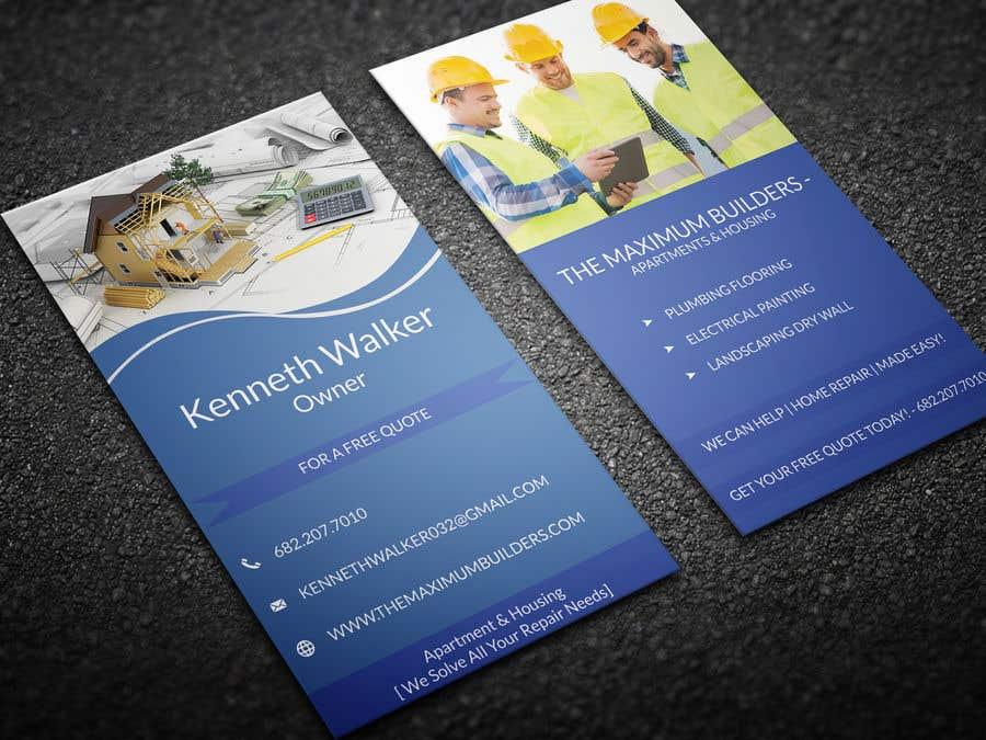 Kilpailutyö #9 kilpailussa design double sided business cards - construction