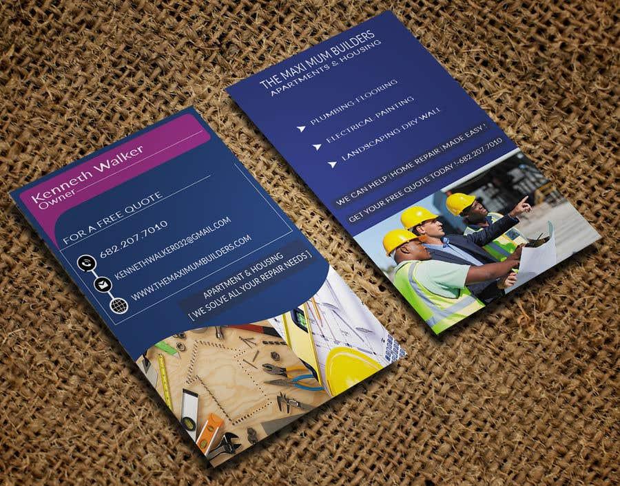 Kilpailutyö #28 kilpailussa design double sided business cards - construction