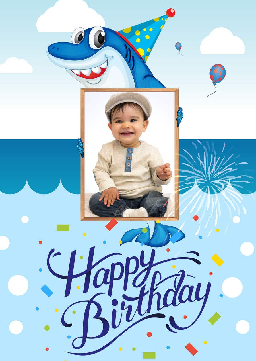 Astonishing Entry 2 By Paladmin For Child Birthday Invitation Card Shark Funny Birthday Cards Online Inifofree Goldxyz