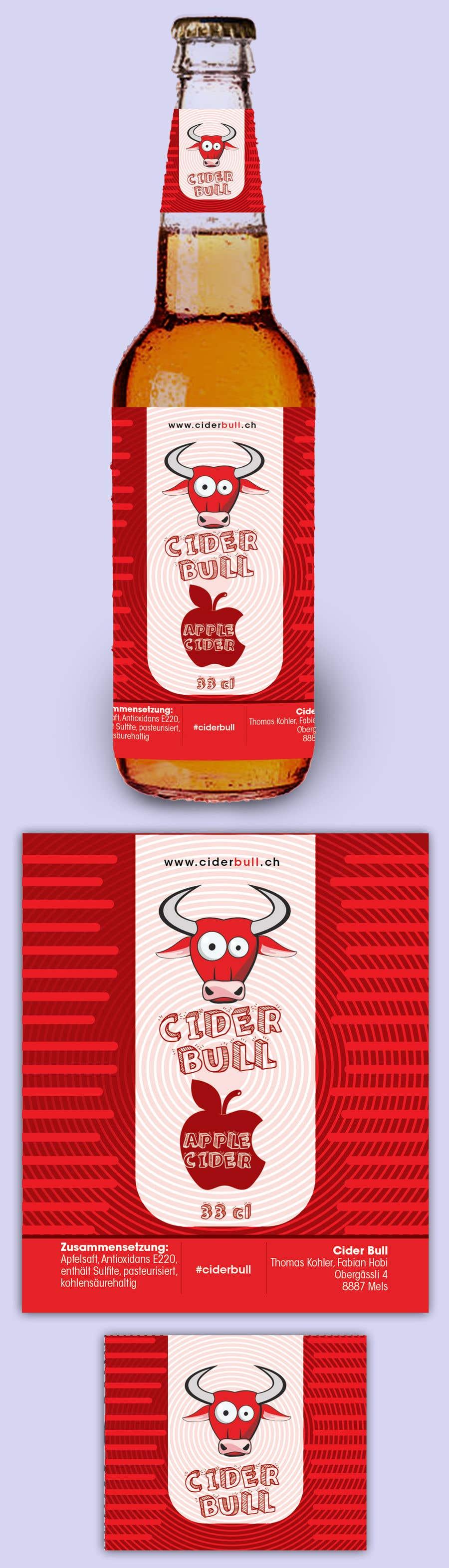 Kilpailutyö #28 kilpailussa Create a label for an apple cider beverage with different flavors