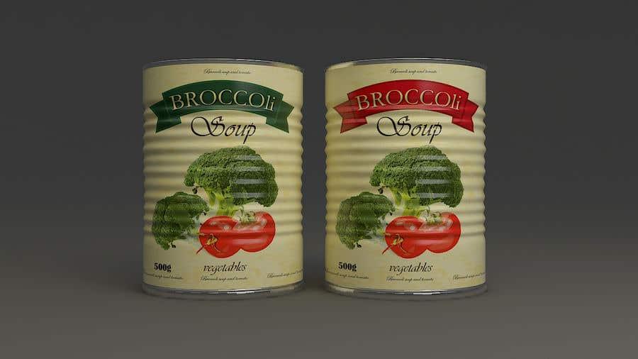 "Intrarea #34 pentru concursul ""I need a logo for a 2D artist. It must be a soup can with a ""Broccoli Soup"" title."""