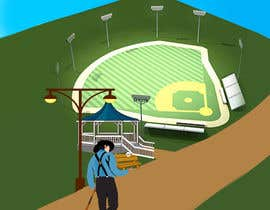 """Nro 9 kilpailuun I need a illustration for a musical production called """" Dear Mr Mayor"""". The gazebo being the main focus and the baseball field in the background with a gruff looking Mayor in the front left. käyttäjältä akhlas07"""