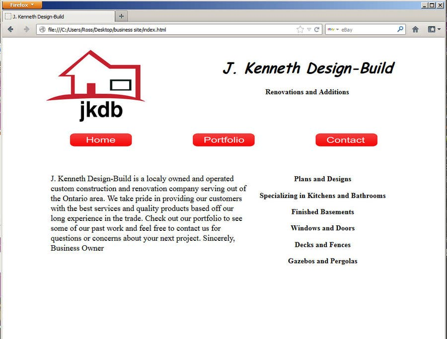 #2 for Website Design for Construction -Renovation Company by RossKinard