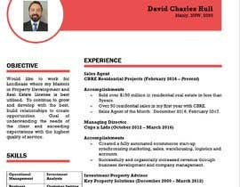 nº 7 pour Design a resume to assist job applications into the property sector par khanjzthanjzt