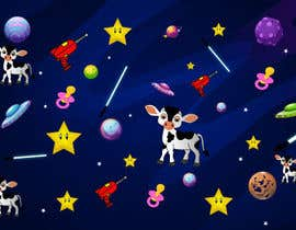 #12 untuk Create a seamless pattern of baby cows floating in space with background items oleh sooofy