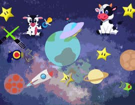 #2 untuk Create a seamless pattern of baby cows floating in space with background items oleh princefaiq01
