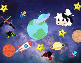 #10 untuk Create a seamless pattern of baby cows floating in space with background items oleh princefaiq01
