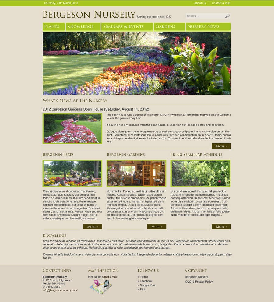 #6 for Design Inspiration for Bergeson Nursery Website by antonyngo