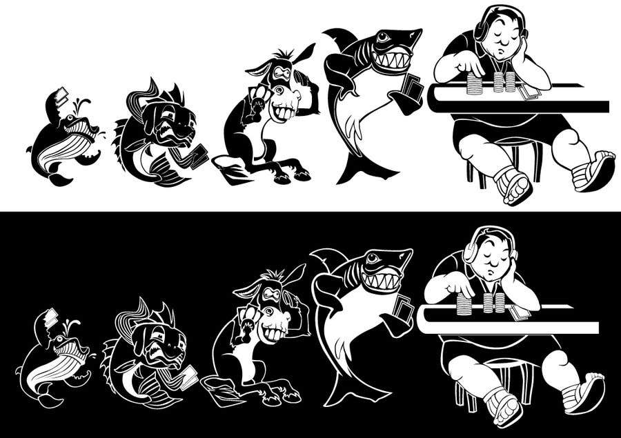 Penyertaan Peraduan #108 untuk Illustration for T-Shirt: Evolution of a Poker Player (From Whale to Shark to Poker Player Using a Different Animals)