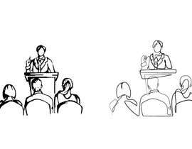 #32 для Design a line drawing image of a presenter at a podium with audience in front of them. от stefaniamar