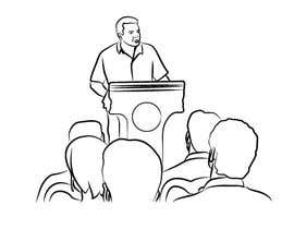 #27 для Design a line drawing image of a presenter at a podium with audience in front of them. от khaldiyahya