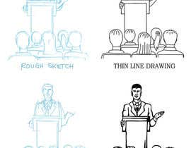 #31 для Design a line drawing image of a presenter at a podium with audience in front of them. от Artro