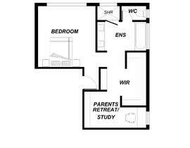#5 for Redesign floor plan of parents retreat including bathroom, study and walk in wardrobe af Tshiringtamang