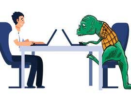 #98 cho Need an illustration of a man working at a desk with a dinosaur bởi NonikNone