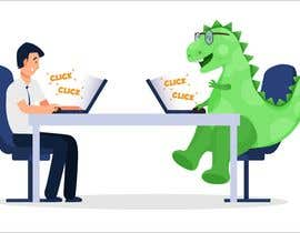 #131 cho Need an illustration of a man working at a desk with a dinosaur bởi PlutusEnt