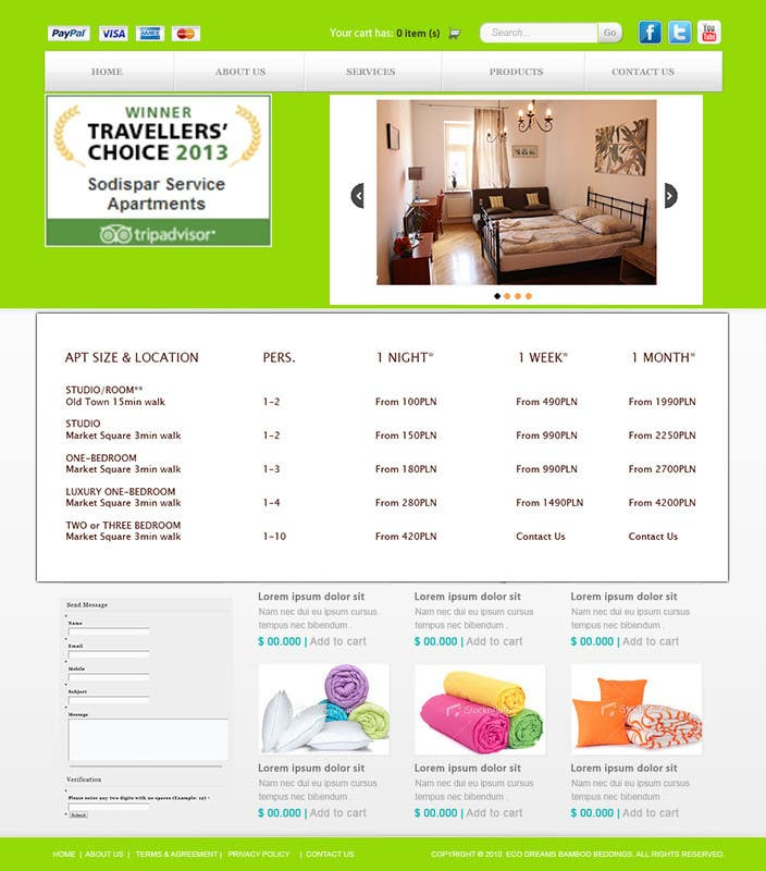 Konkurrenceindlæg #                                        5                                      for                                         WordPress responsive one page website for Apartment rentals