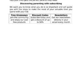 #2 untuk Landing page text (Collecting emails for newsletter) for blog about kids, parents etc oleh calcuttans