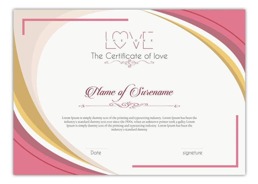 Kilpailutyö #9 kilpailussa design a love certificate template with my logo