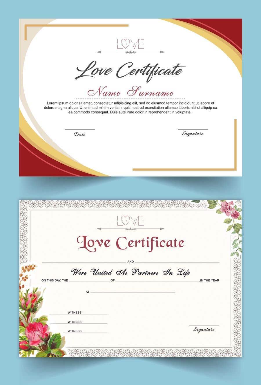 Kilpailutyö #15 kilpailussa design a love certificate template with my logo