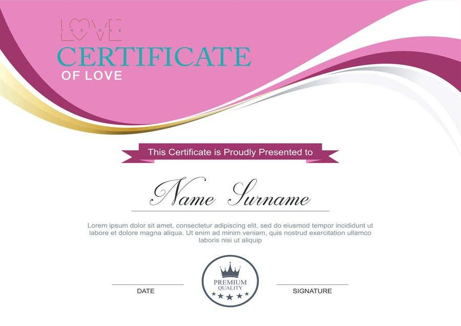 Konkurrenceindlæg #12 for design a love certificate template with my logo