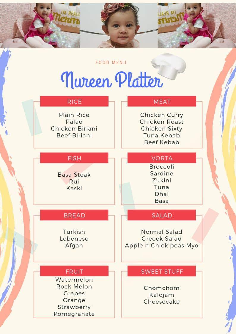 Bài tham dự cuộc thi #5 cho Make a Food Menue for Nureen Birthday