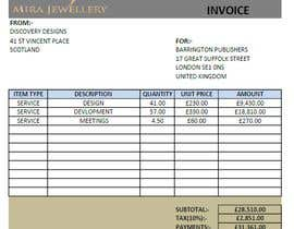 Nro 41 kilpailuun Create a Branded Excel Invoice for a Jewellery Company käyttäjältä akshayovhal215