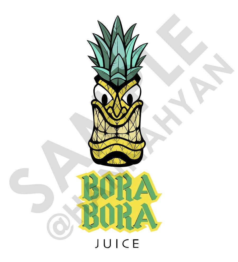 "Intrarea #17 pentru concursul ""Redraw this form of novelty in a beautiful and professional manner with the addition of (Bora Bora juice below the logo)"""