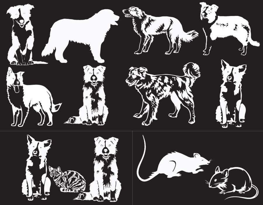 Penyertaan Peraduan #3 untuk Create 11 simple b&w illustrations of dogs and mice for a book
