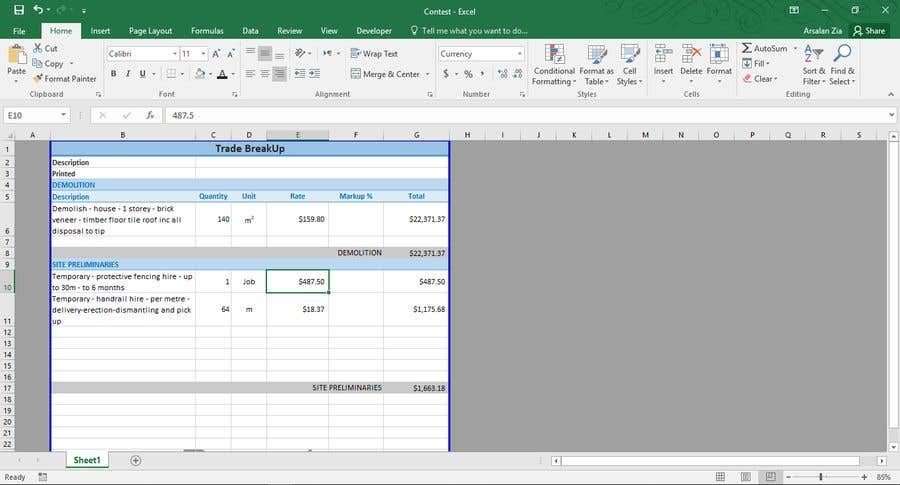 Entry #39 by ZiaArsalan for Convert PDF into editable Excel file