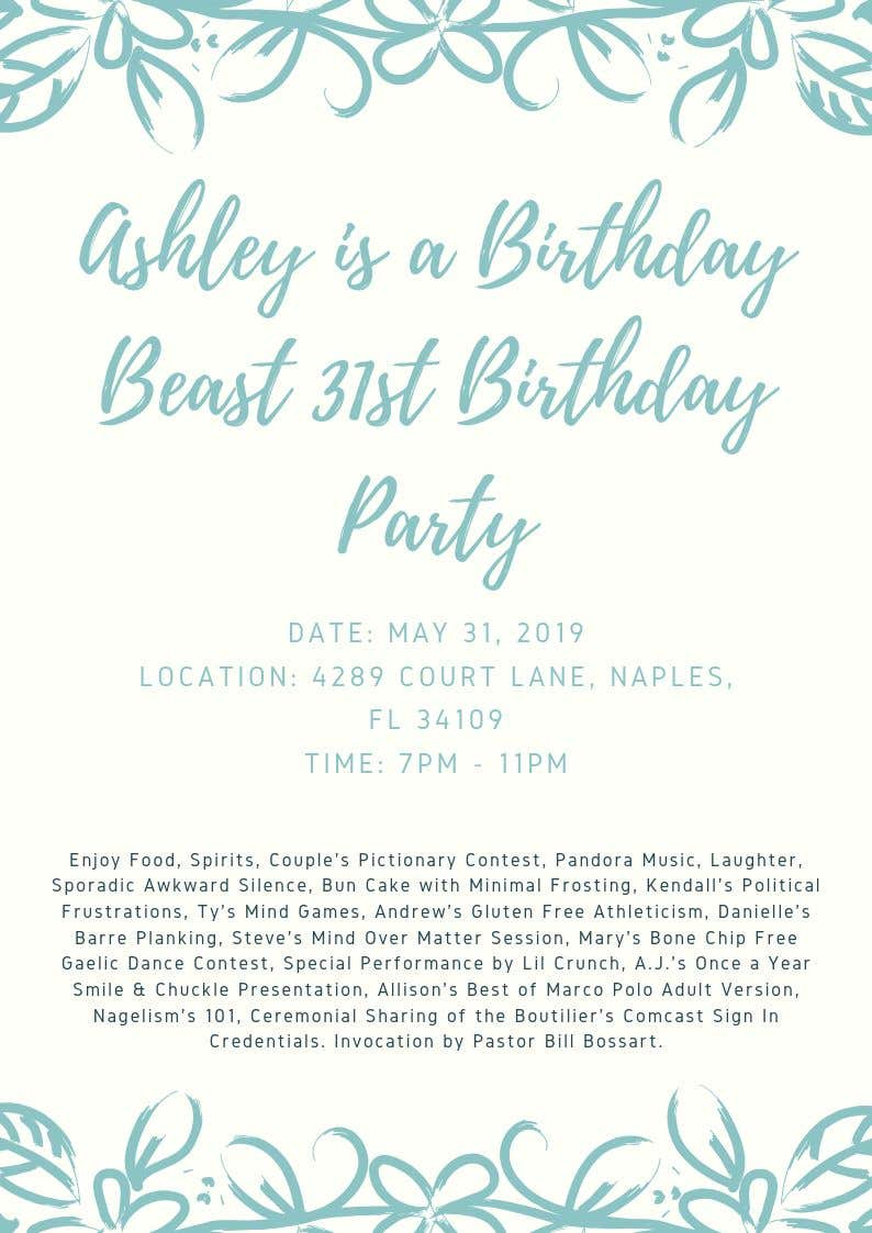 Konkurrenceindlæg #1 for Ashley is a Birthday Beast 31st Birthday Party Flyer